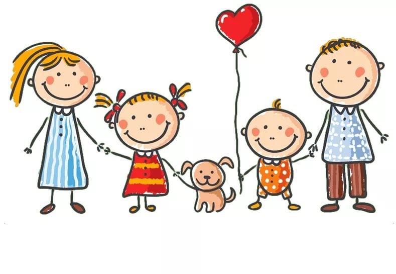 Картинки дружная семья нарисованные, открытки годом